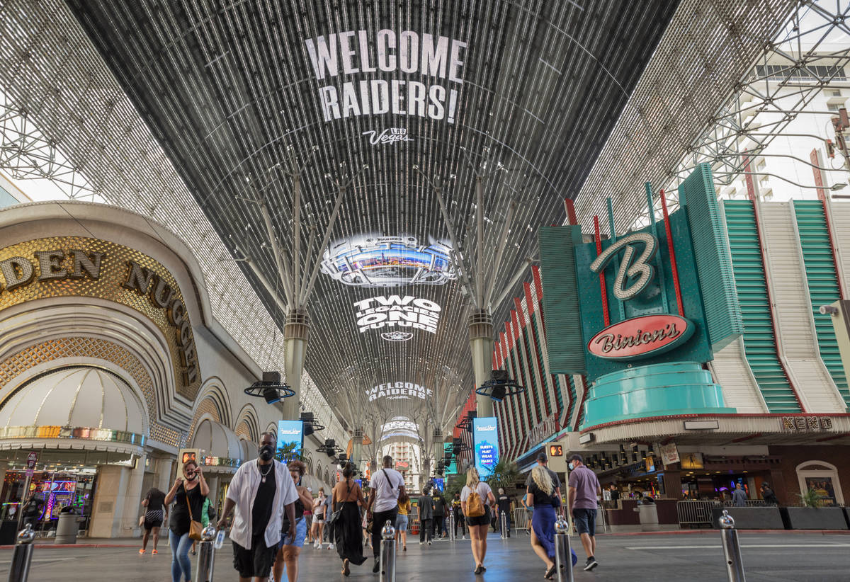The Viva Vision Canopy welcomes Raiders on the Fremont Street Experience in downtown Las Vegas ...