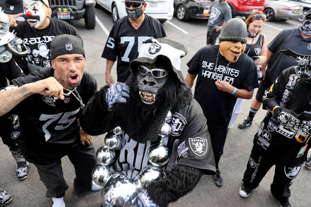 James Weatherbie of Rowland Heights, Calif., left, poses with Gorilla Rilla during a Las Vegas ...