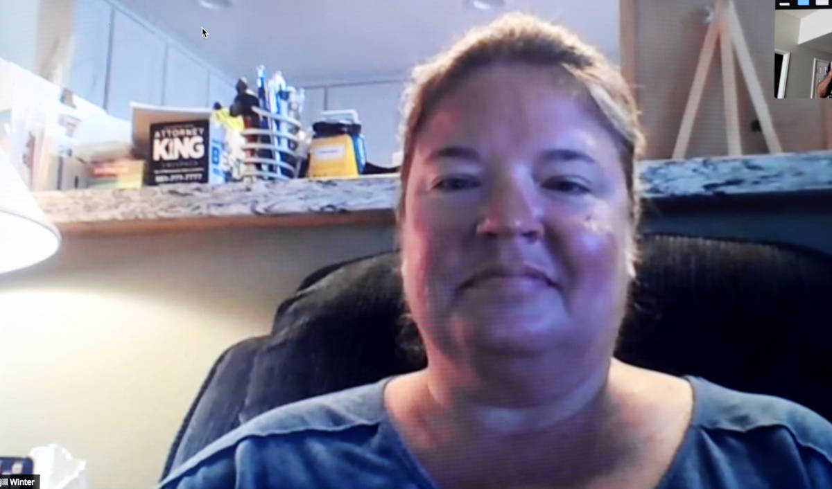 Route 91 Harvest festival shooting survivor Jill Winter during a Zoom call on Wednesday, Sept. ...
