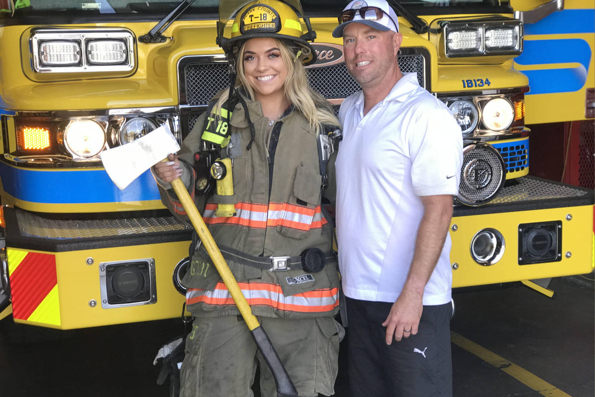 Dean McAuley, a firefighter of Valley Regional Fire Authority and Natalia Baca. On the night o ...
