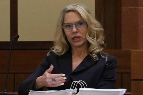 Justice of the Peace Melanie Tobiasson, left, testifies during a Nevada Judicial Discipline Com ...