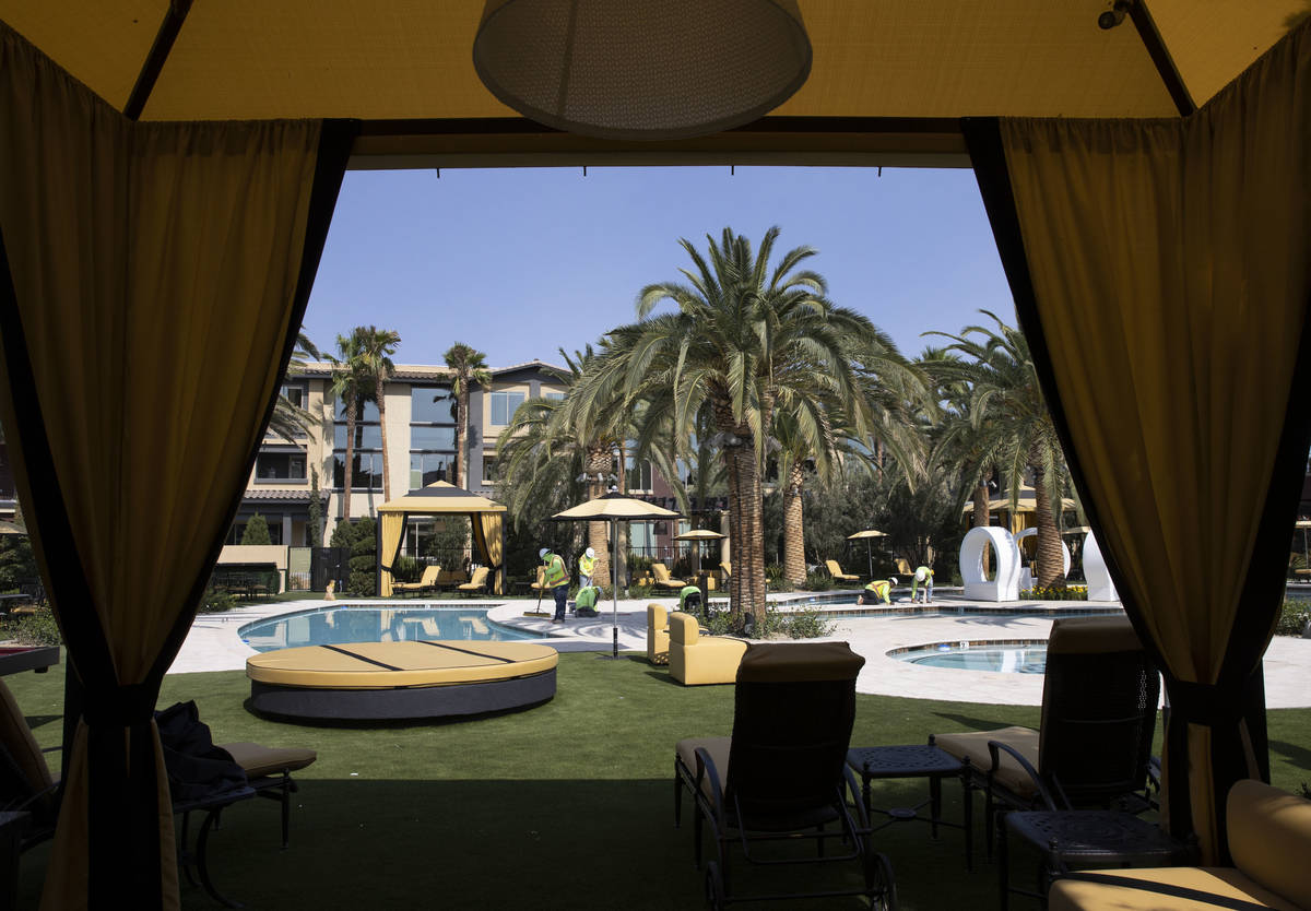 A cabana at a pool area at the Tuscan Highlands apartment complex under construction near the M ...