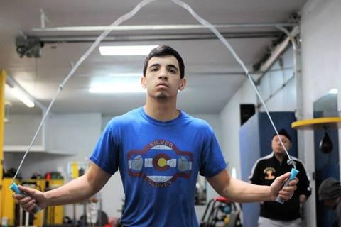 Las Vegas resident and super bantamweight boxer Damien Vazquez trains in 2019. Vazquez is fight ...