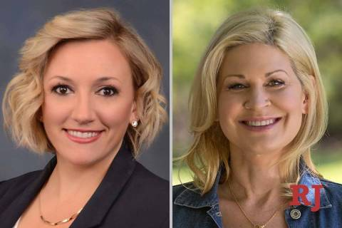 Nicole Cannizzaro, left, and April Becker, candidates for Nevada Senate District 6 (F ...