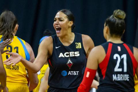 Las Vegas Aces center Liz Cambage (8) gets pumped after a basket over the Chicago Sky defenders ...