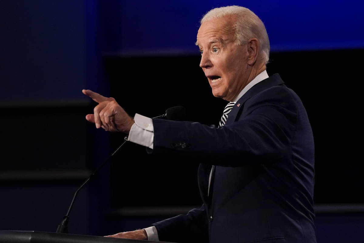 Democratic presidential candidate former Vice President Joe Biden gestures while speaking durin ...