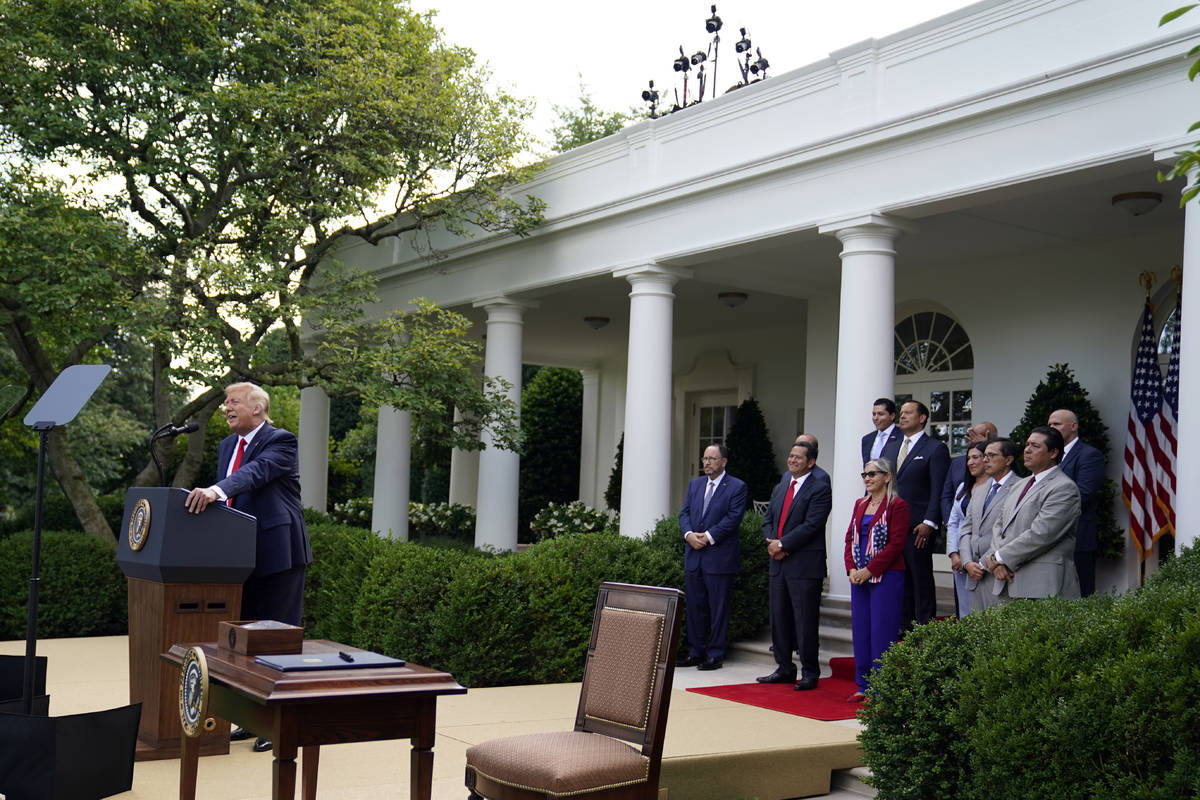 """President Donald Trump speaks before signing an executive order on the """"White House Hispan ..."""