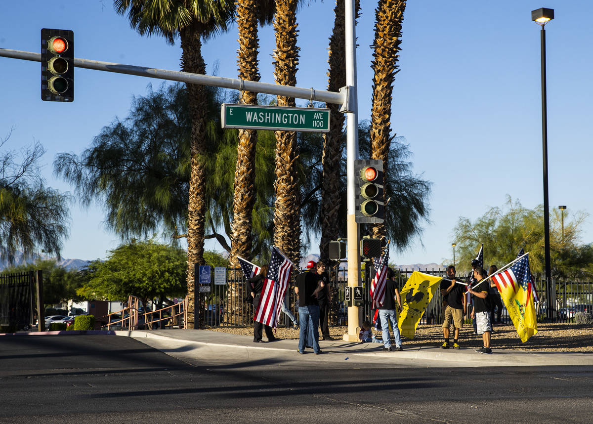 during a parade in support of law enforcement and President Donald Trump in Las Vegas on Wednes ...