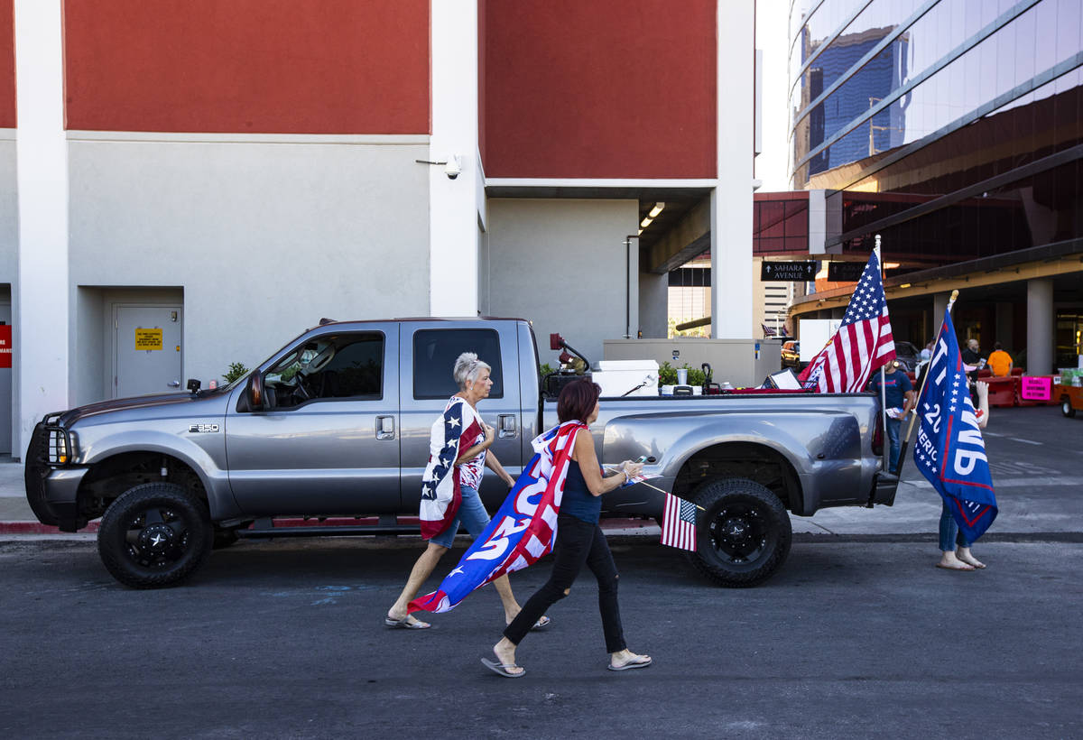 Supporters of law enforcement and President Donald Trump prepare for a parade along the Las Veg ...