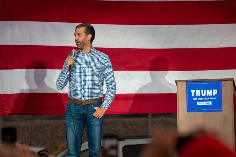 Donald Trump Jr. stumps for his father's presidential re-election campaign at Peterbilt Truck P ...