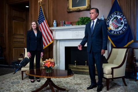 Judge Amy Coney Barrett, President Donald Trumps nominee for the U.S. Supreme Court, meets with ...