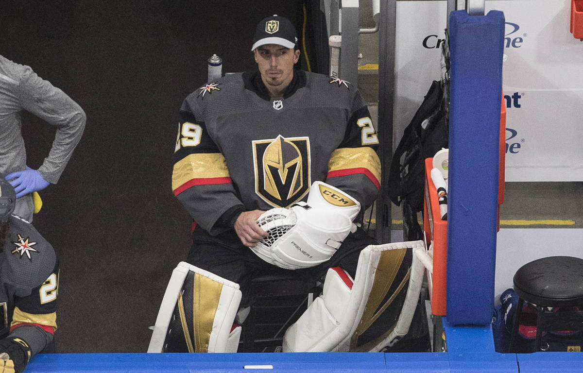 Vegas Golden Knights goalie Marc-Andre Fleury sits on the bench during the first period in Game ...