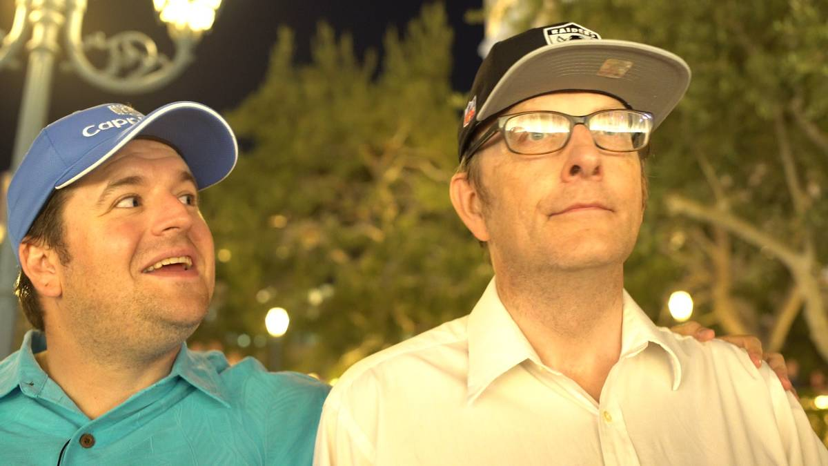 """Filmmaker Zachary Capp, left, shows Larry Lang some of the sights of Las Vegas in """"The Ringmast ..."""