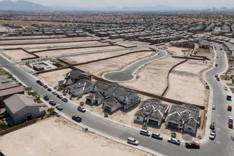 An aerial view of Lennar at Stone Creek at Tule Springs, a housing development near West Dorrel ...