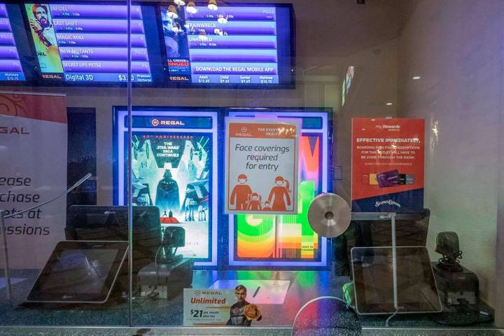 A ticket counter closed at Regal Cinema 10 located in Green Valley Ranch is seen in Henderson o ...