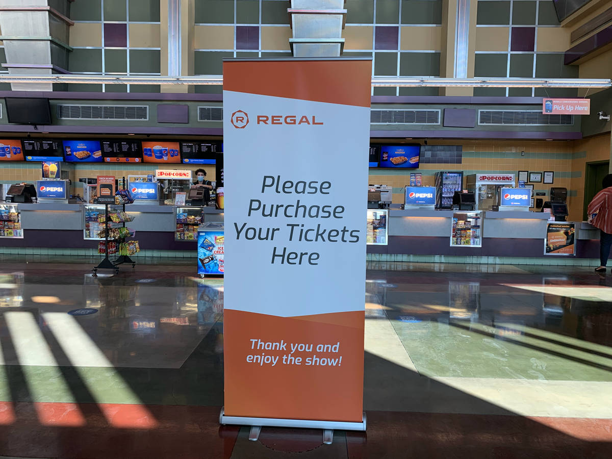 A sign to purchase tickets from the concession stand is seen in Regal Colonnade, in Las Vegas o ...