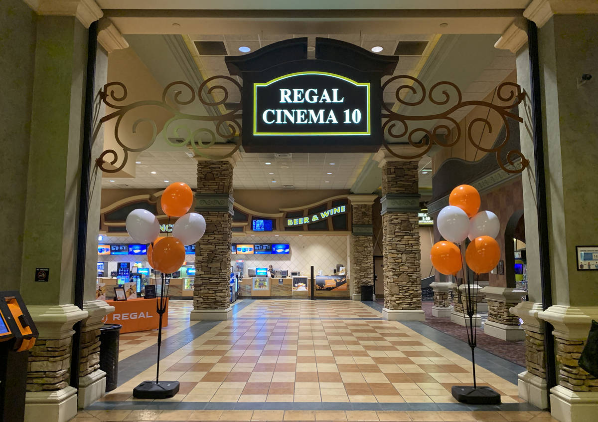 A quiet lobby at Regal Cinema 10 located in Green Valley Ranch is seen in Henderson on Sunday, ...