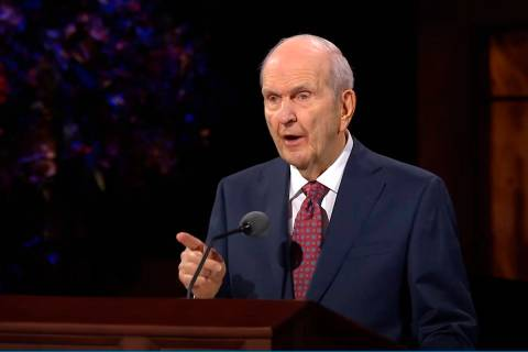 Church President Russell M. Nelson speaks during the opening of the 190th Semiannual General Co ...