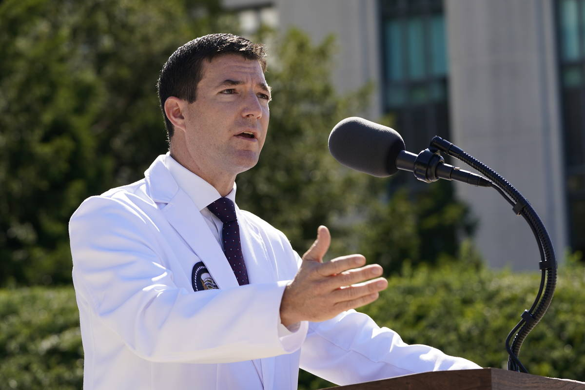 Dr. Sean Conley, physician to President Donald Trump, briefs reporters at Walter Reed National ...