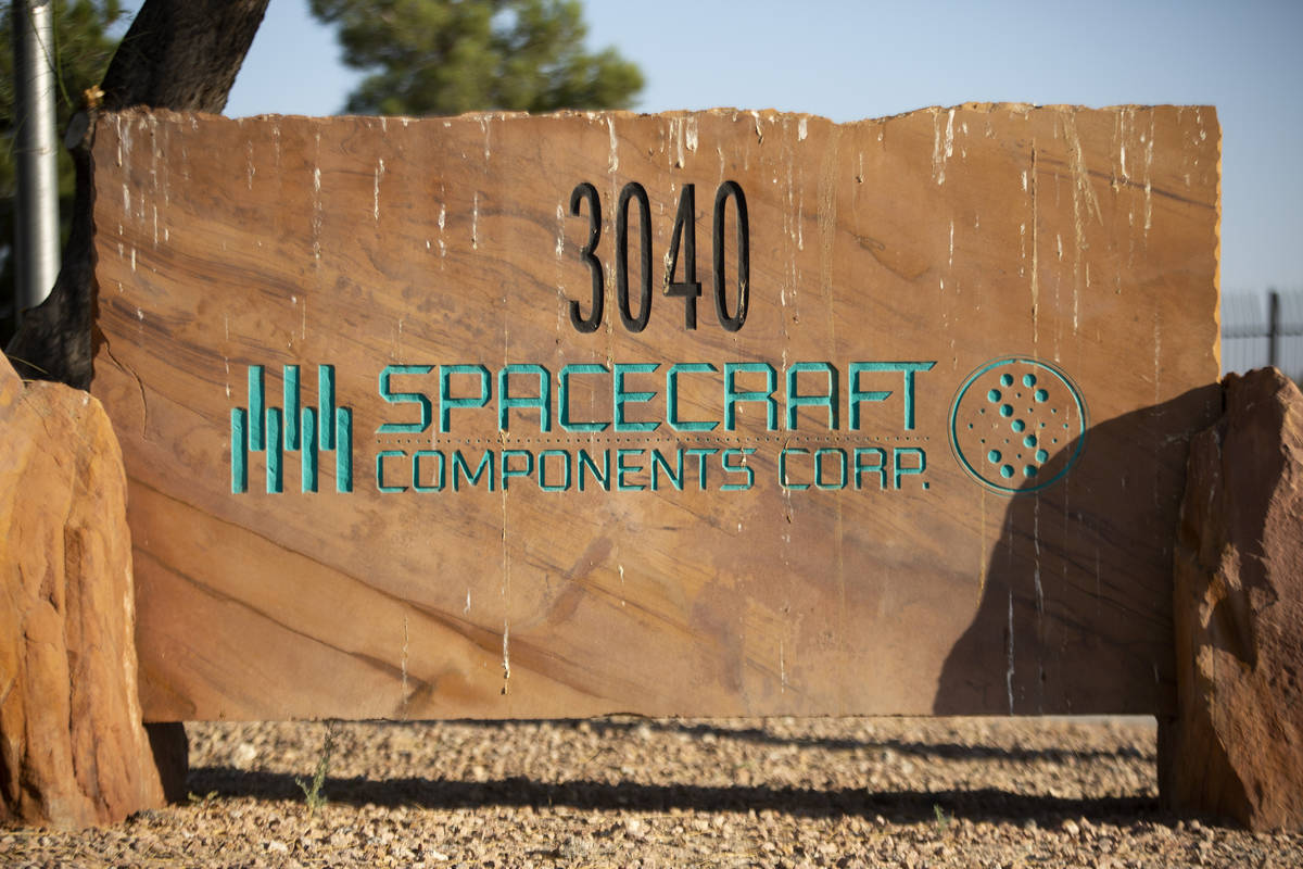 The sign in front of Spacecraft Components Corp. on Tuesday, Oct. 6, 2020, in Las Vegas. State ...