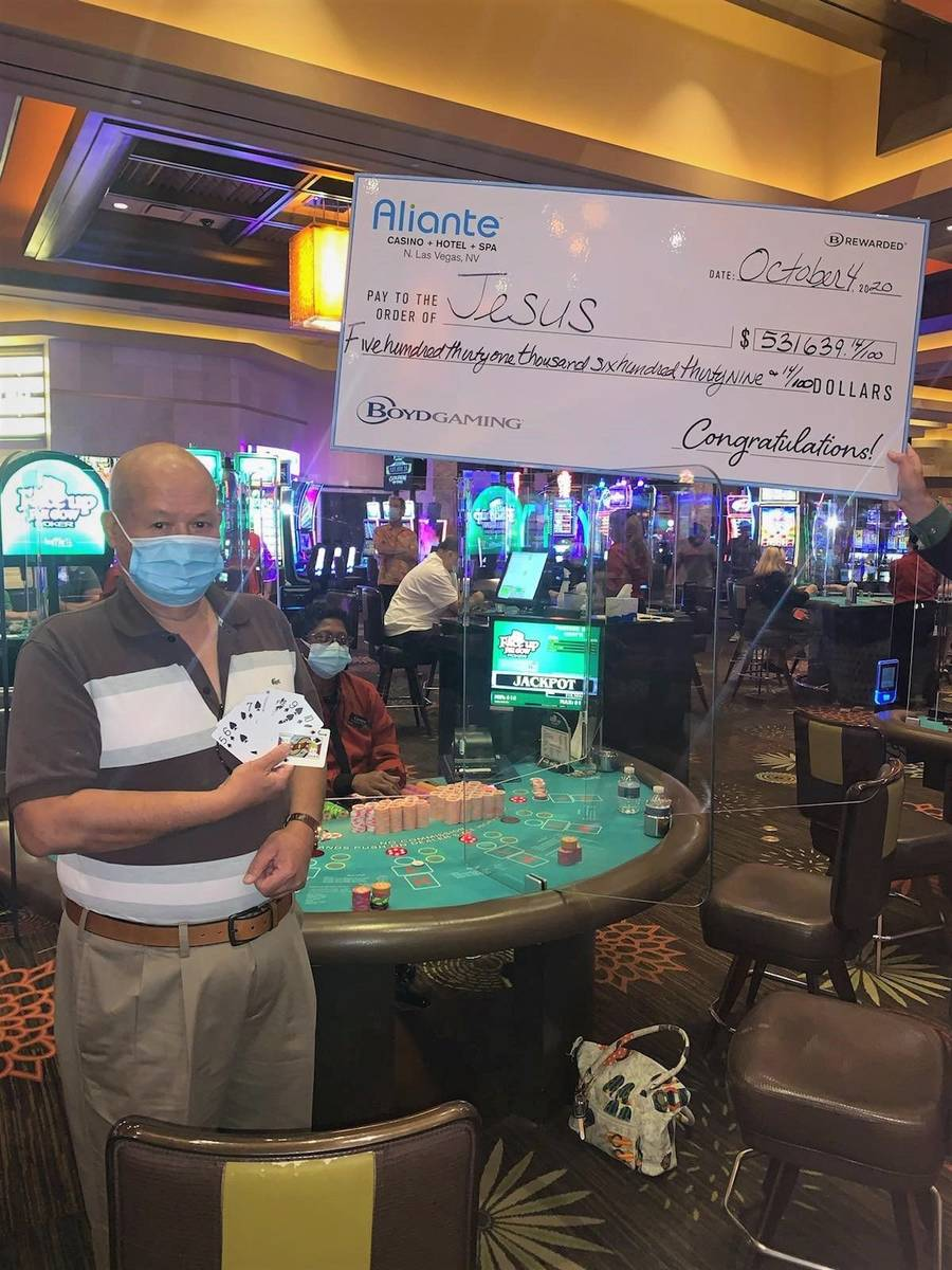 Jesus was playing Face Up Pai Gow Poker at around noon Sunday, Oct. 4, 2020, when he hit a seve ...