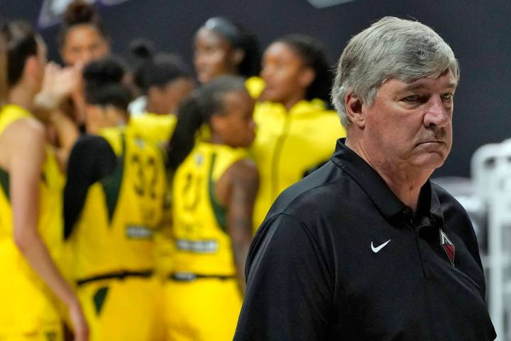 Las Vegas Aces head coach Bill Laimbeer reacts as he walks off the court while the Seattle Stor ...
