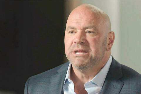 In this image from video, Ultimate Fighting Championship president Dana White speaks during the ...
