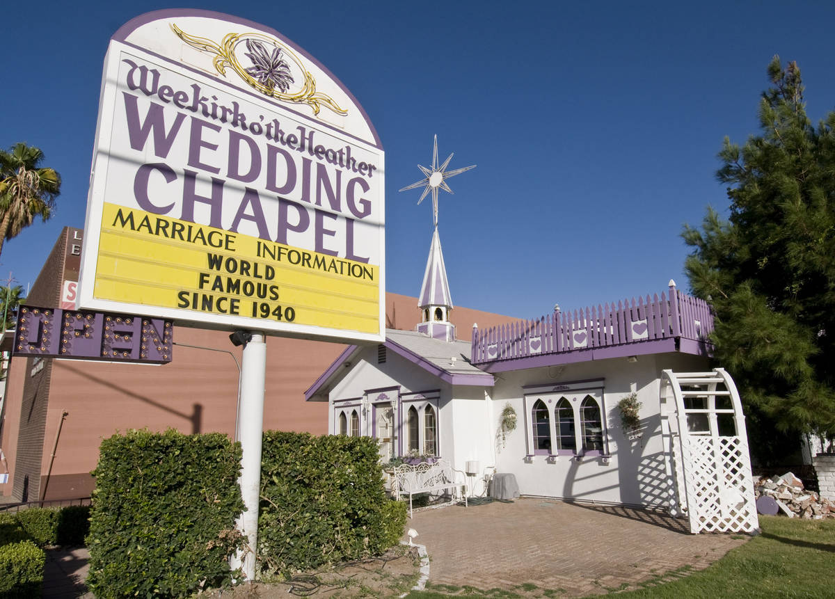 The Wee Kirk O' the Heather Wedding Chapel on Las Vegas Boulevard is shown on Monday, Oct. 19, ...