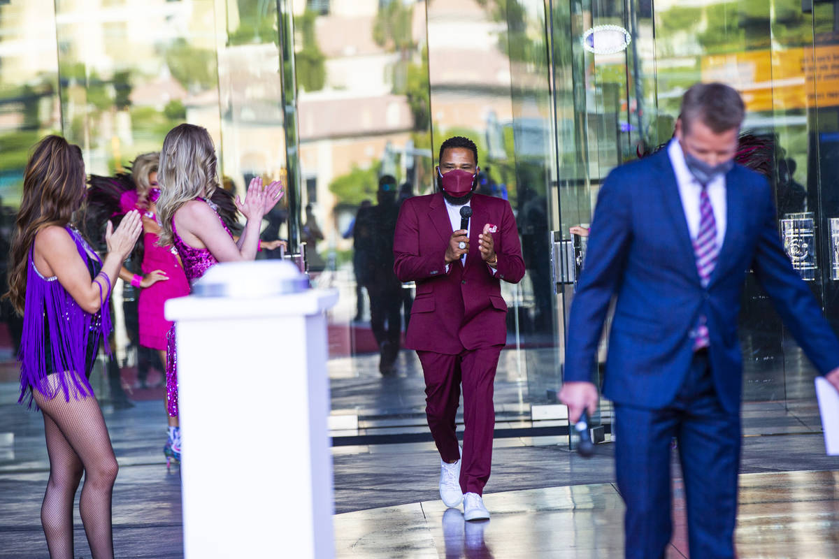 Actor Anthony Anderson arrives to speak to mark the reopening of the Planet Hollywood Resort in ...