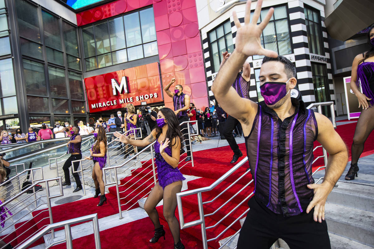 Dancers perform to mark the reopening of the Planet Hollywood Resort in Las Vegas on Thursday, ...