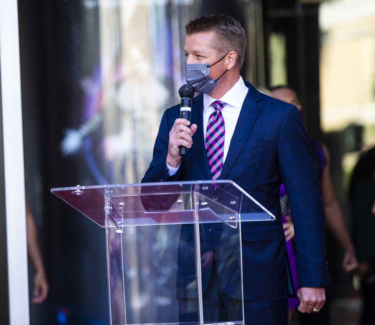 Jason Gregorec, general manager of the Planet Hollywood Resort, speaks before the reopening of ...