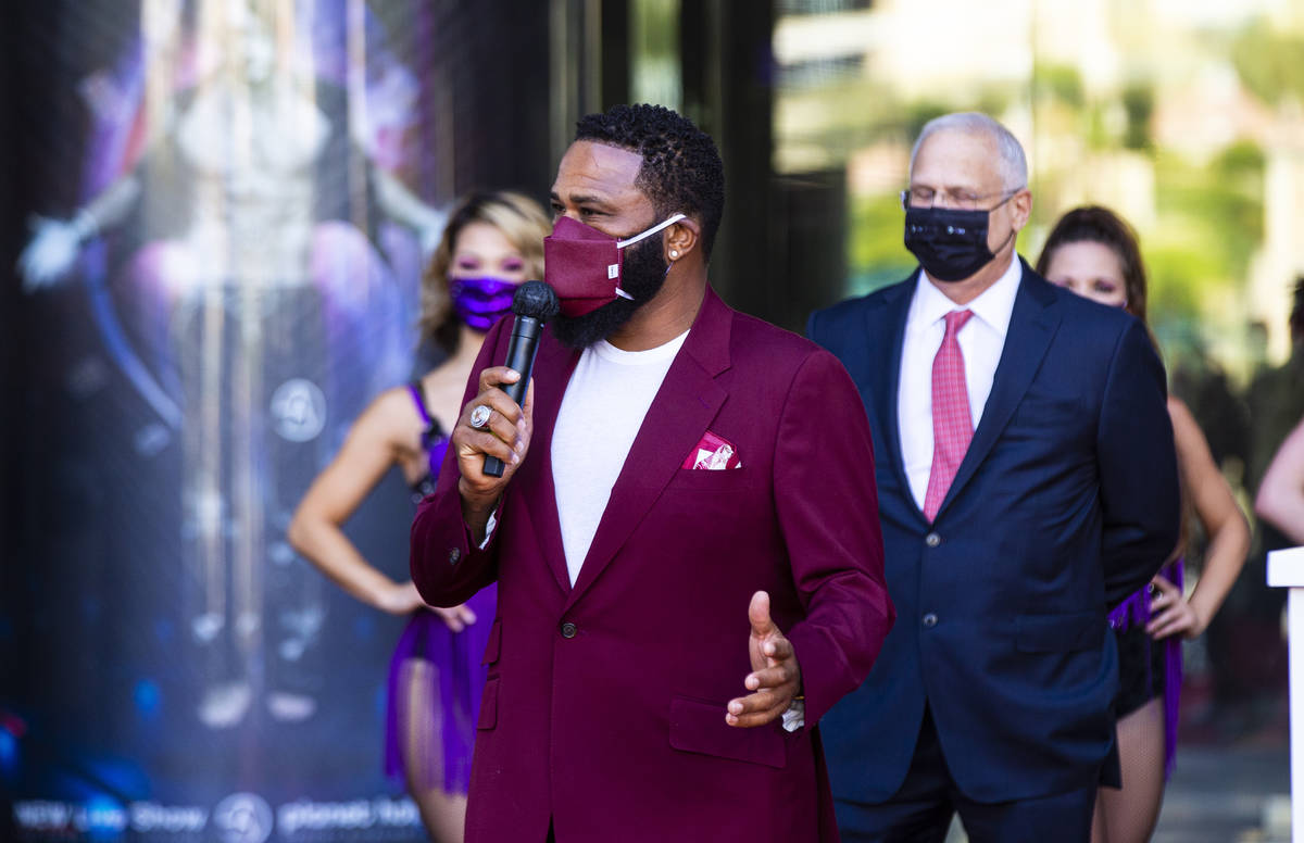 Actor Anthony Anderson speaks to mark the reopening of the Planet Hollywood Resort in Las Vegas ...