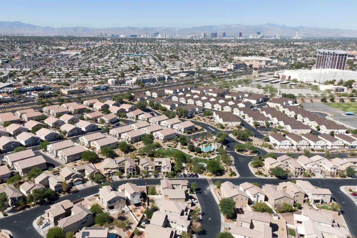 An aerial view of housing between Boulder Highway and Jimmy Durante Boulevard in Las Vegas on T ...