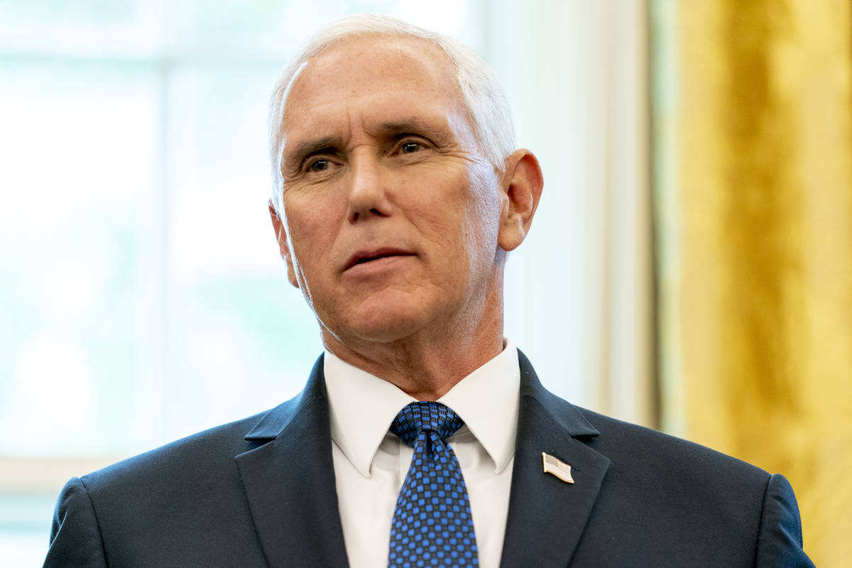 Vice President Mike Pence speaks in the Oval Office of the White House, Friday, Sept. 11, 2020, ...