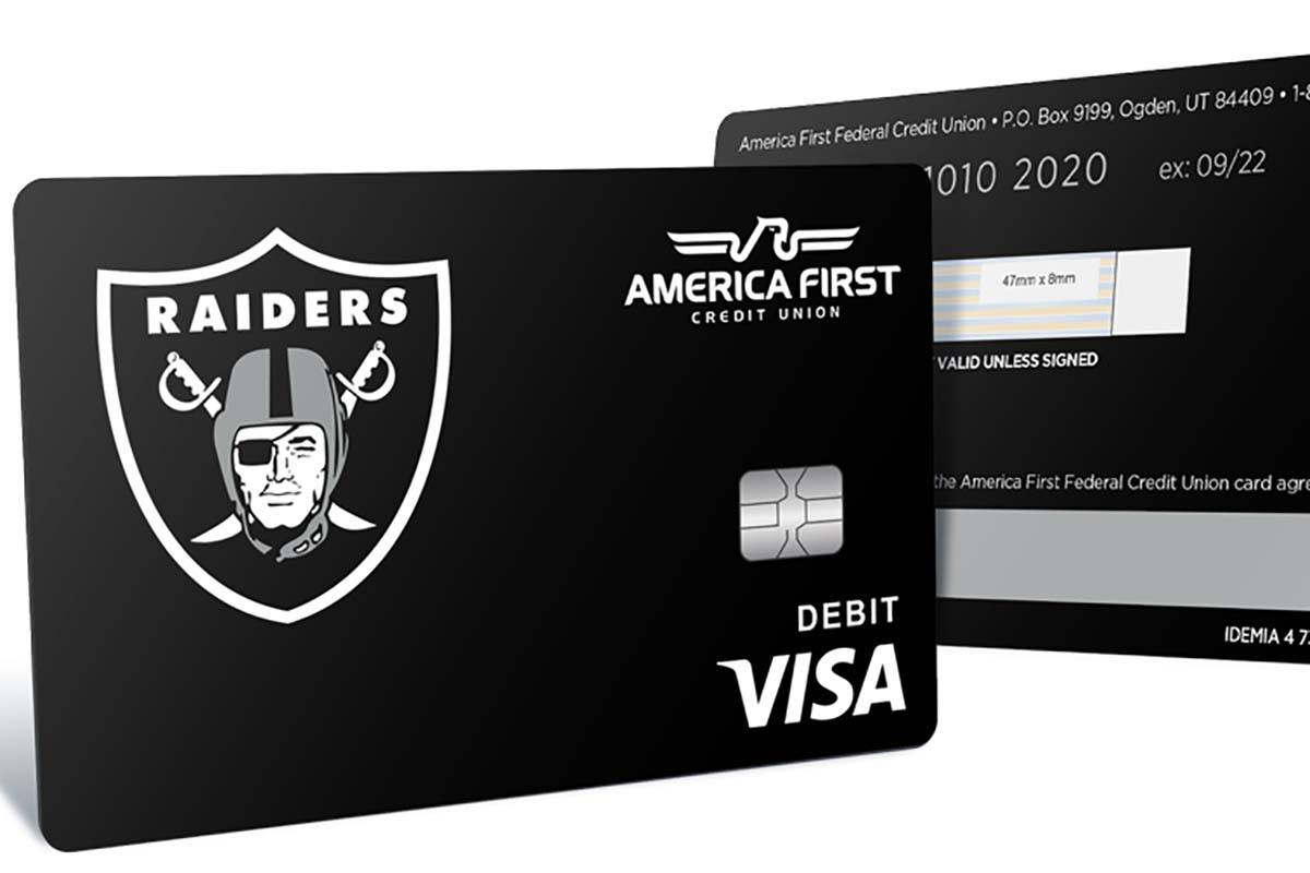 America First Credit Union unveiled its Raiders-themed debit card Tuesday, Oct. 6, 2020. (Ameri ...