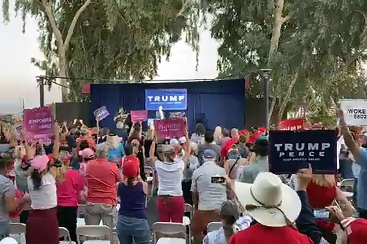 The crowd watches Eric Trump during a campaign event at the Pahrump Valley Winery on Sept. 24, ...