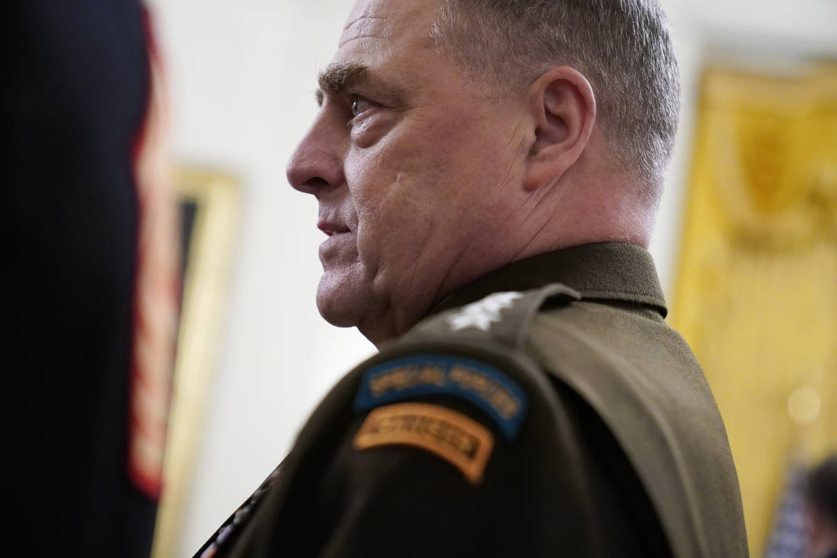 Chairman of the Joint Chiefs of Staff Gen. Mark Milley arrives for the presentation of the Meda ...