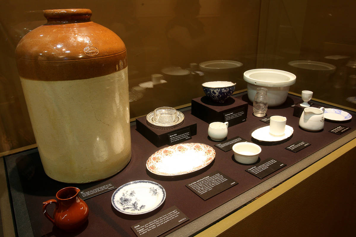 """A ceramic jug and china pieces are shown at """"Titanic: The Artifact Exhibition"""" at Luxor. (Premi ..."""