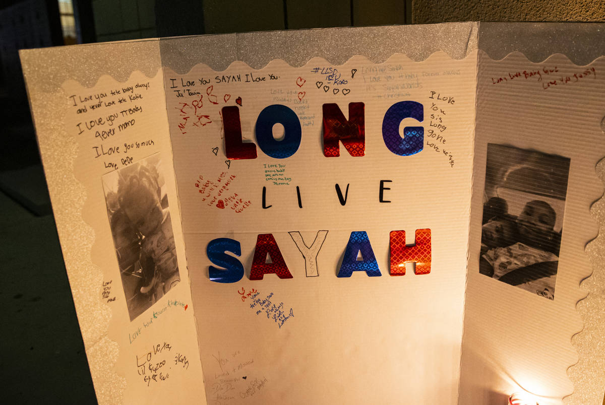 Messages left in memory of 1-year-old Sayah Deal in Las Vegas on Tuesday, Oct. 6, 2020. Deal di ...