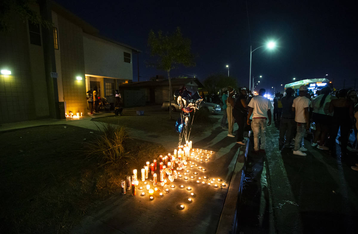 Candles are lit in memory of 1-year-old Sayah Deal in Las Vegas on Tuesday, Oct. 6, 2020. Deal ...