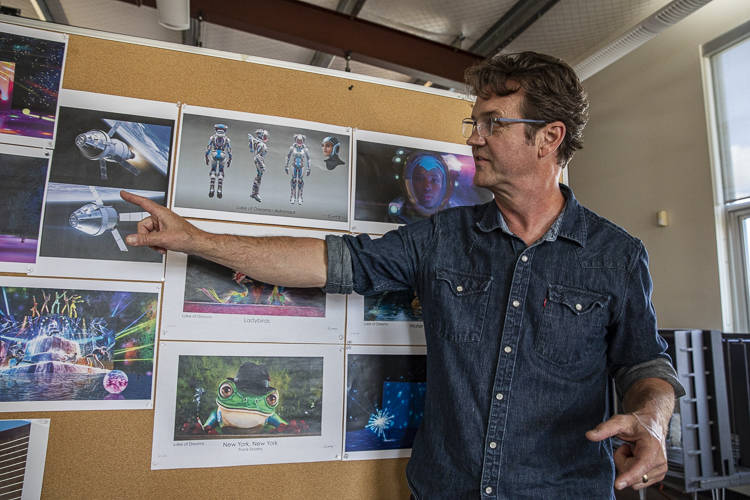 Production designer Michael Curry is shown working on the revamp of Lake of Dreams at the Wynn. ...