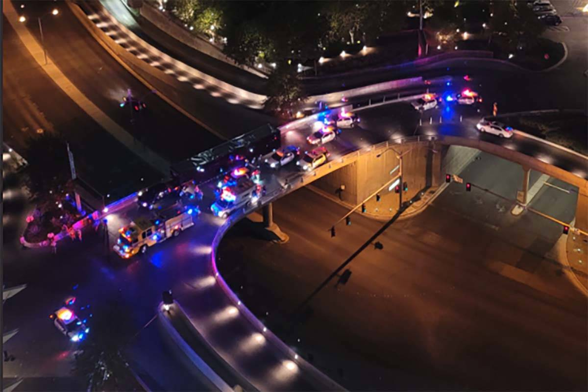 Las Vegas police respond to a shooting in the valet area of the Aria on Tuesday, Sept. 22, 2020 ...