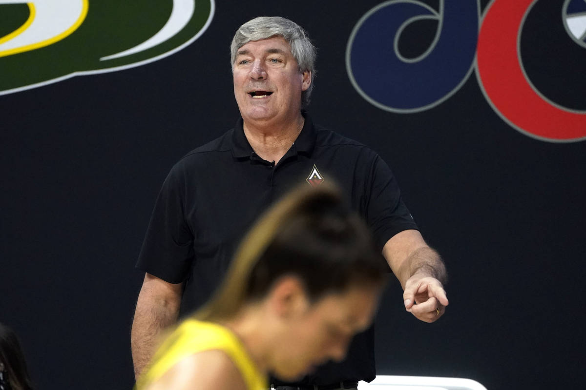 Las Vegas Aces head coach Bill Laimbeer gestures to an official during the second half of Game ...