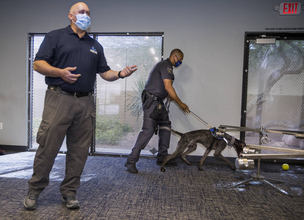 Trainer Cameron Ford with Ford K-9, left, describes a narcotics search demonstration by Nevada ...