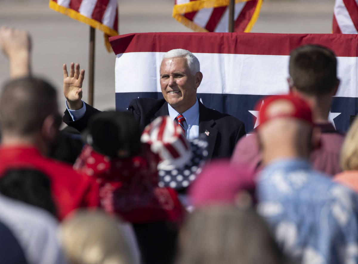 Vice President Mike Pence waves to the crowd after speaking at Make America Great Again event a ...