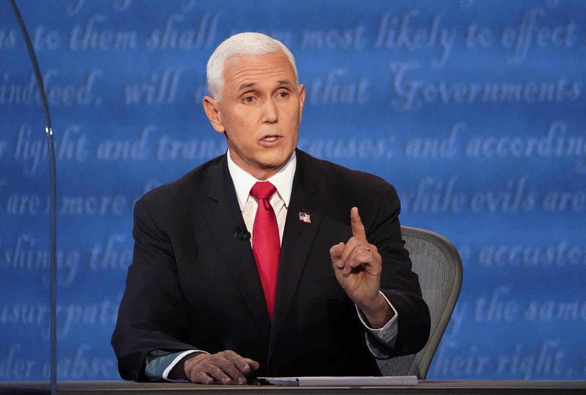 Vice President Mike Pence makes a point during the vice presidential debate with Democratic vic ...