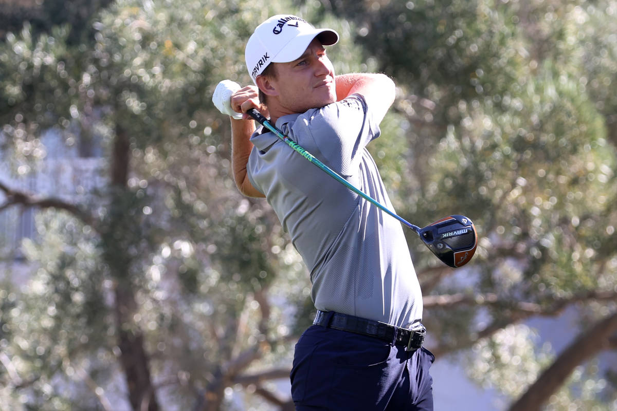 Emiliano Grillo tees off at the 16th green during round one the 2020 Shriners Hospitals for Chi ...