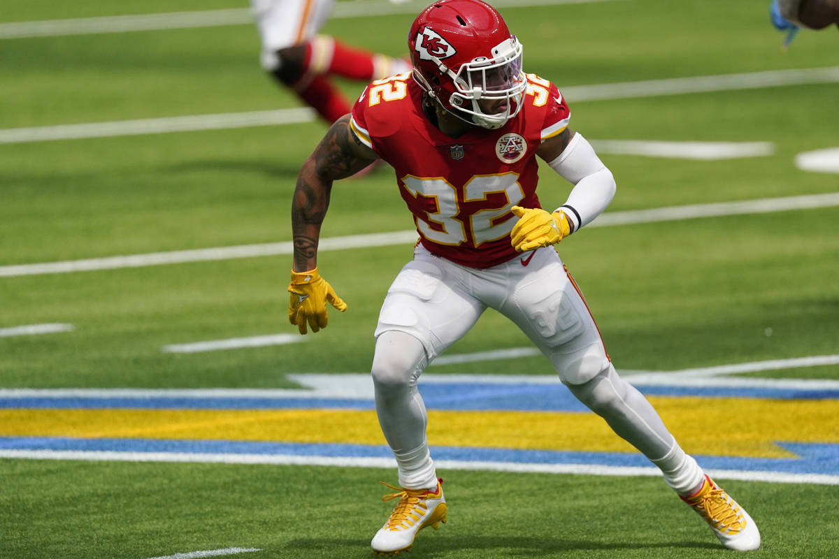 Kansas City Chiefs free safety Tyrann Mathieu in action against the Los Angeles Chargers during ...