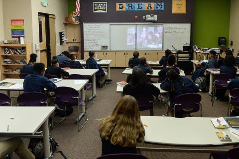 A seventh grade classroom studies English at Democracy Prep in Las Vegas, Tuesday, Jan. 22, 201 ...