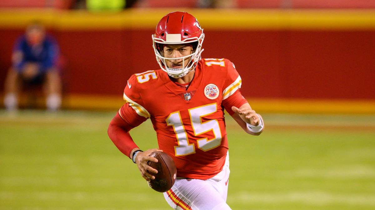 Kansas City Chiefs quarterback Patrick Mahomes (15) during the second half of an NFL football g ...